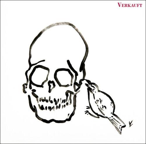 Originalzeichnung #3 von Peter Radelfinger zur limitierten Vinyl-Edition der «Lieder zum Schluss». ©Peter Radelfinger, 2011. VERKAUFT.