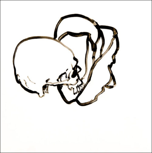 Originalzeichnung #6 von Peter Radelfinger zur limitierten Vinyl-Edition der «Lieder zum Schluss». ©Peter Radelfinger, 2011.