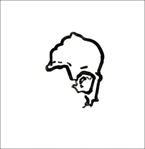 Originalzeichnung #9 von Peter Radelfinger zur limitierten Vinyl-Edition der «Lieder zum Schluss». ©Peter Radelfinger, 2011.