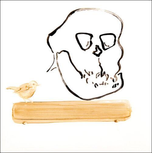 Originalzeichnung #11 von Peter Radelfinger zur limitierten Vinyl-Edition der «Lieder zum Schluss». ©Peter Radelfinger, 2011.