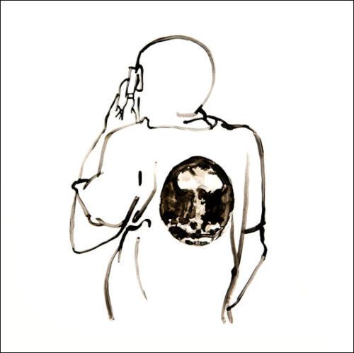 Originalzeichnung #13 von Peter Radelfinger zur limitierten Vinyl-Edition der «Lieder zum Schluss». ©Peter Radelfinger, 2011.