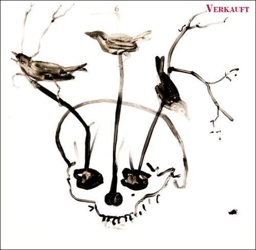 Originalzeichnung #14 von Peter Radelfinger zur limitierten Vinyl-Edition der «Lieder zum Schluss». ©Peter Radelfinger, 2011. VERKAUFT.