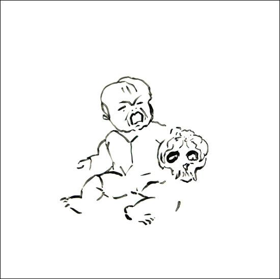 Originalzeichnung #19 von Peter Radelfinger zur limitierten Vinyl-Edition der «Lieder zum Schluss». ©Peter Radelfinger, 2011.