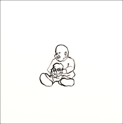 Originalzeichnung #26 von Peter Radelfinger zur limitierten Vinyl-Edition der «Lieder zum Schluss». ©Peter Radelfinger, 2011.